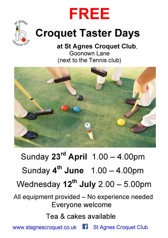 Poster for St Agnes Croquet Club Taster days